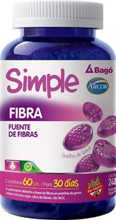 Simple Bago Fibra Pastillas De Goma Tránsito Intestinal 60 U
