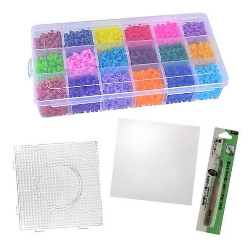 Estuche Hama Beads Midi Con Base Pinza Y Papel X 18 Colores