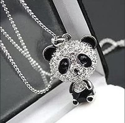 Colar 40cm Feminino Pingente Todo De Strass Brilhante Cristal Estilo Panda Urso Com Caixinha Lindo Presente Amor Amo Te