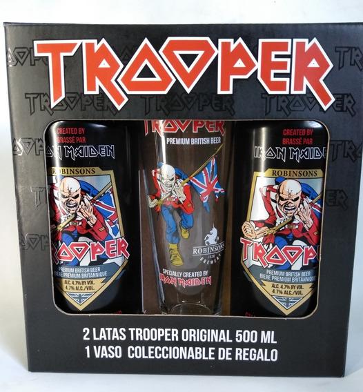 Iron Maiden The Trooper Cerveza 2 Latas + Vaso Nuevo