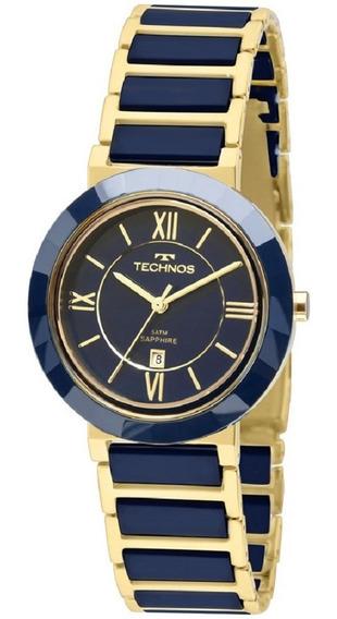 Relógio Technos Azul E Dourado Feminino Ceramic 2015ce/5a