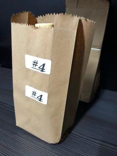Bolsas De Papel Craft 100pz #4 Estraza 12x28cm+6.5cm Fuelles