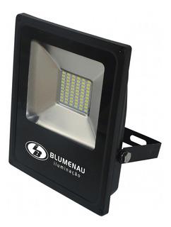 Refletor Led 30w Slim Blumenau Preto 3000k Luz Amarela Biwt