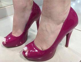 Sandália Peep Toe Meia Pata Rosa Pink Verniz Salto Alto Fino