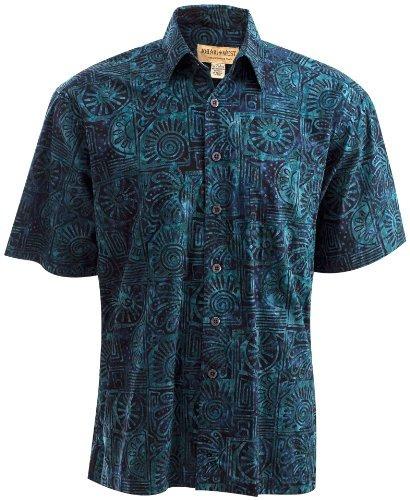 Geometric Sunrise Hawaiian Batik Shirt by Johari West