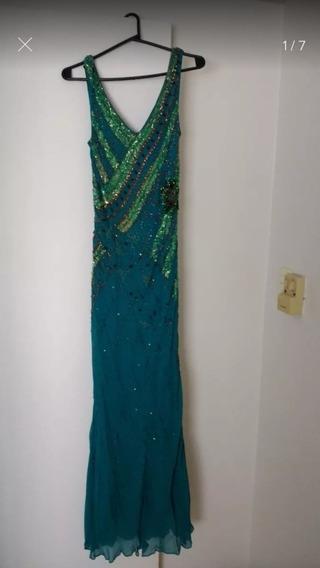 Vestido Verde Con Apliques Lentejuelas Y Mostacillas Cosidas