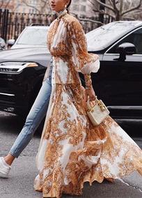 Vintage Design Medieval Puff Sleeve&ruffled Printed Dress