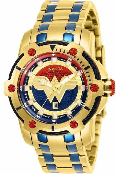 Relógio Invicta 26839 Original Mulher Maravilha Banho Ouro