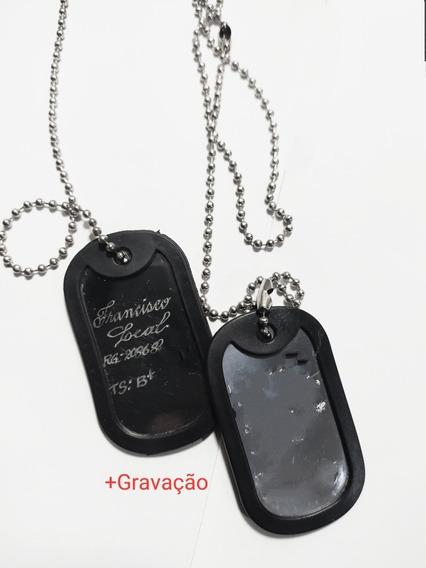 Cordão Aço Dog Tag Militar Pqd Identificação