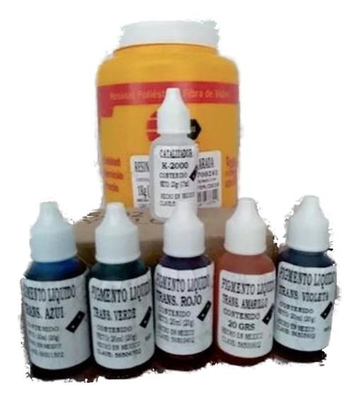 Resina Cristal Preparada Para Vaciados Con 5 Colorantes