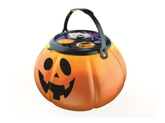 Halloween Calabaza Con Luz Led Caramelera Con Tapa