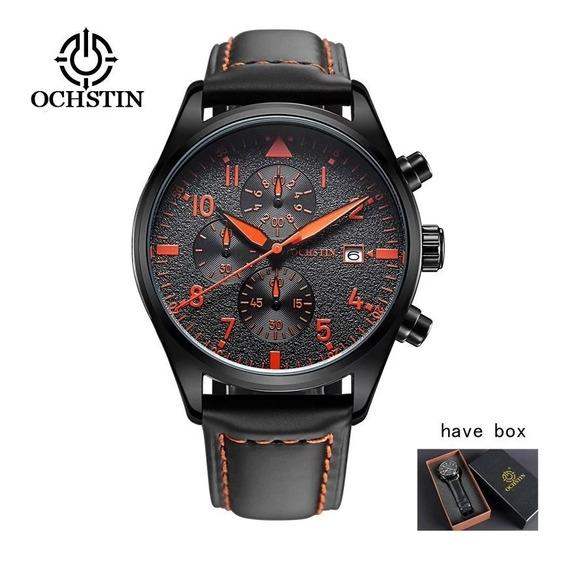 Relógio Ochstin Pulseira Couro Luxo Masculino Prova D