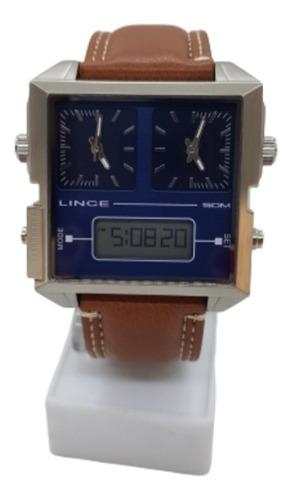 Relógio Quadrado Masculino Lince Pulseira De Couro