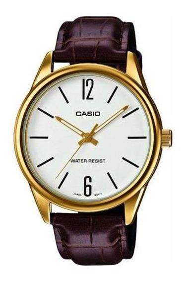 Relógio Masculino Casio Dourado Couro Marrom Original