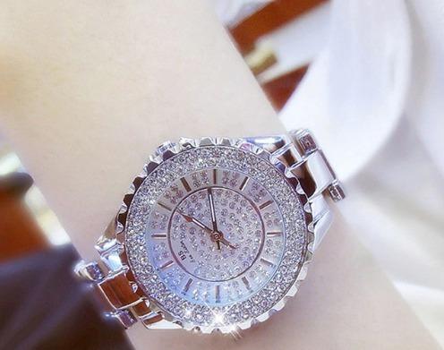 Relógio Luxo Feminino Strass Austríacos Bs Bee Sister 0280