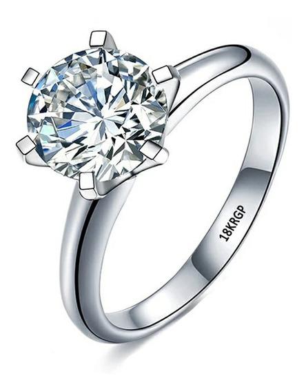 Anel Solitário Noivado/casamento/formatura Ouro Branco 18 K