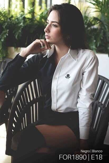 Camisa Fortrop, For1890, Blanco Con Negro
