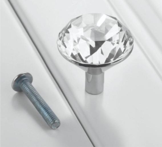 Puxador Cristal Lapidado Cromado 25mm Kit C/ 7 Uni.
