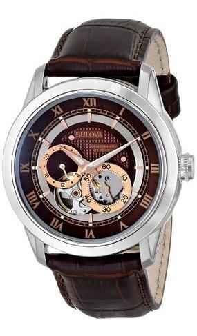 Relógio Bulova 96a120 Automatico Masculino Bva Couro Marrom