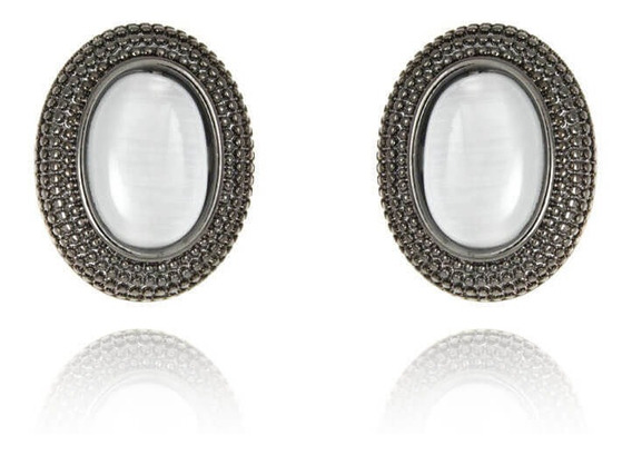 Brinco Oval Pedra Olho De Gato - Ródio Negro