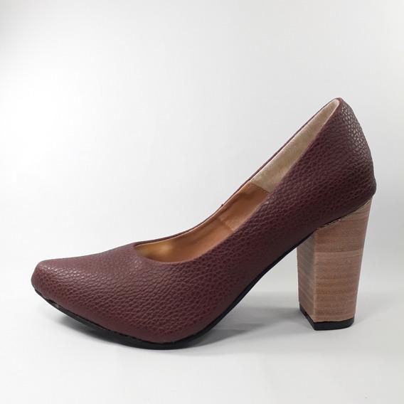 Zapato Mujer Stilettocon Taco De Madera Y Punta Fina