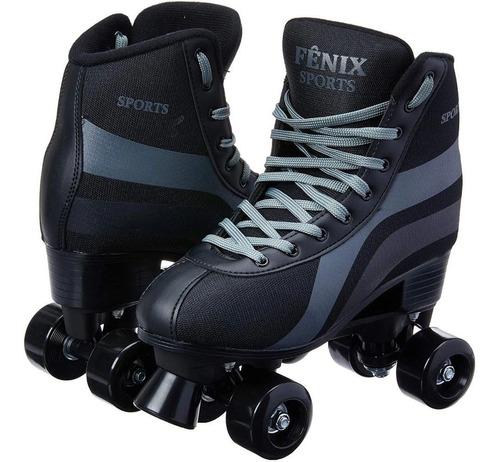 Imagem 1 de 5 de Patins 4 Rodas Retrô Clássico Preto Menino Roller Skate