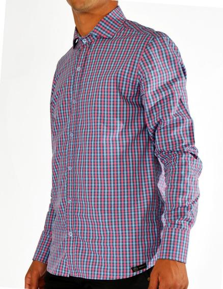 Camisa A Cuadros Manga Larga Hombre Romana