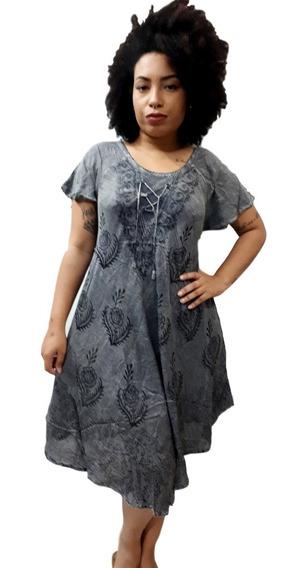 Vestido Feminino Plus Size Trapézio Manga Curta Indiano 1355