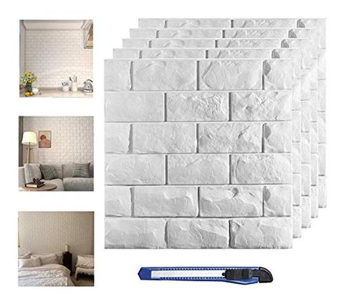 30 Piezas De Paneles De Pared 3d, Ladrillo Blanco Imprimible