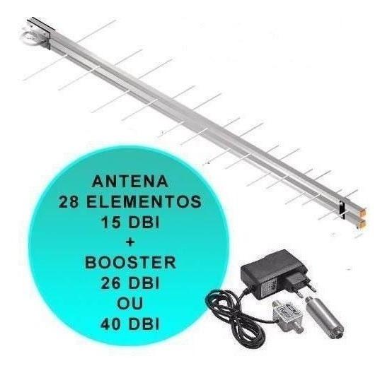 Antena Tv Uhf Hd Digital + Booster Amplificador Proeletronic