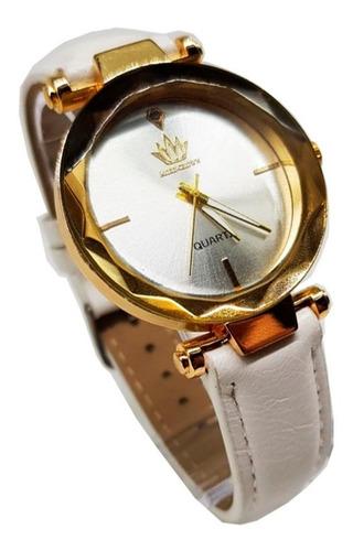 Relógio Feminino More Crowm Couro Original Branco