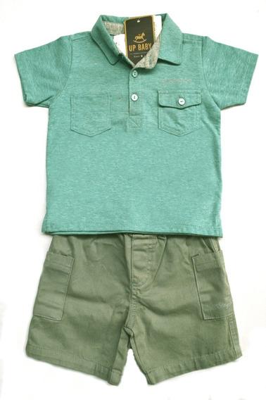 Conjunto Infantil Bebe Menino Bermuda Camisa Up Baby 1 Ano