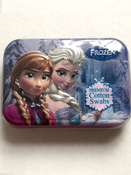 Porta Cotonete Disney Latinha Com 30 Cotonetes Frozen Anna