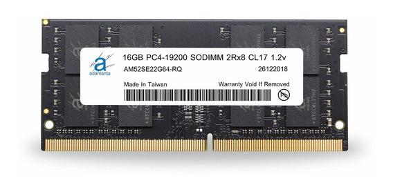 Memoria Ram 16gb Adamanta (1x16gb) Upgrade Ddr4 2400mhz Pc4-19200 Sodimm 2rx8 Cl17 1.2v Dram