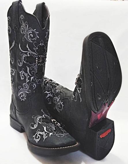 Bota Texana Feminina West Country/ Preto - Glitter / Aplique