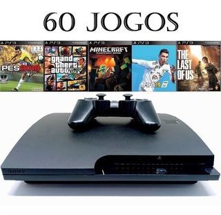 Playstation 3 Ps3 Slim + 60 Jogos + 12x Sem Juros