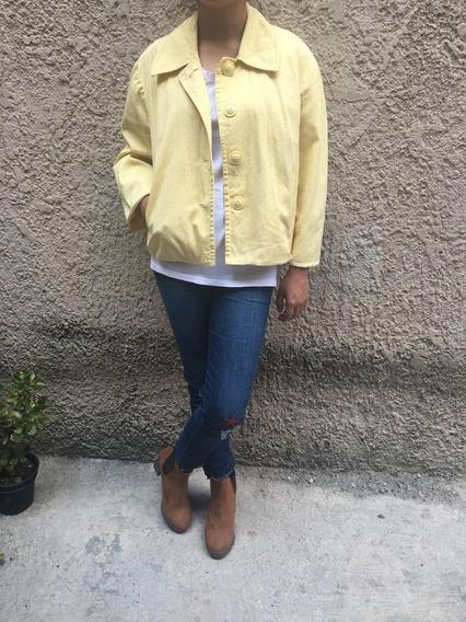Saco Abrigo Amarillo Lunares Puntos Blancos Botones Grandes