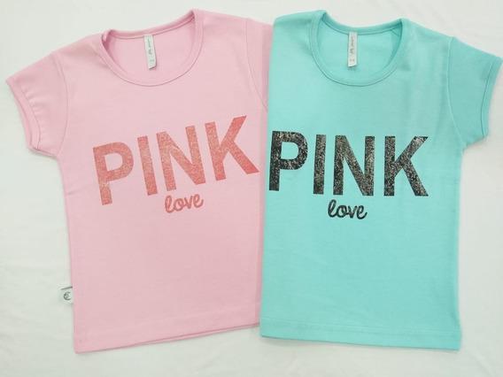 Camiseta Nena Estampada X 3 Unidades Manga Corta Del 4 Al 16