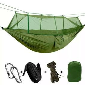 Hamaca Portatil Mosquitera Para Camping Color Verde D3058