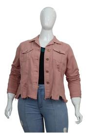 Jaqueta De Sarja Feminina Plus Size Rosé Cambos Lançamento