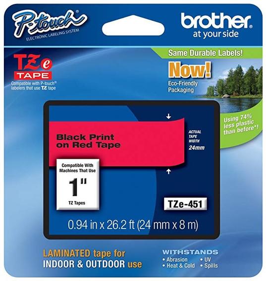 Cinta Brother Tze451 Laminada Negro Sobre Rojo 24mm /v /vc
