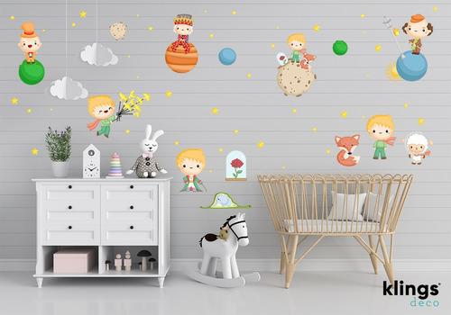 Imagen 1 de 2 de Vinilo Decorativo Infantil El Principito Planetas Cuento