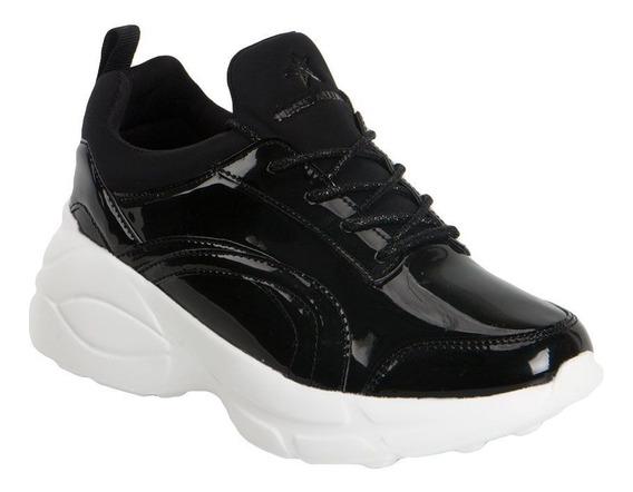 Tenis Sneakers Plataforma Negro Charol Suela Blanca Chunky