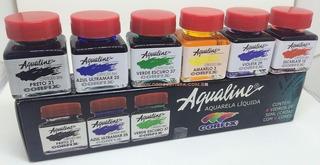 2 X Aqualine Aquarela Líquida Aerografia Cj 6 Cores Corfix