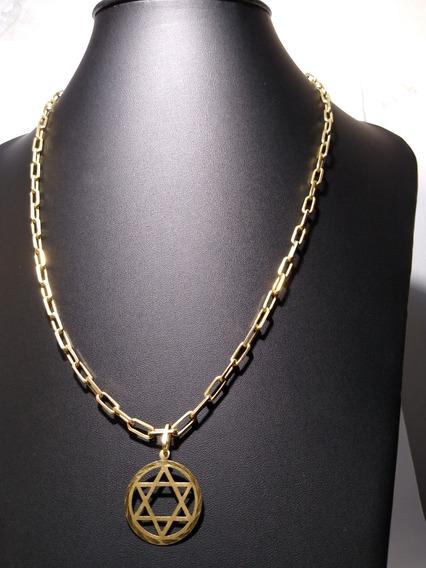 Cordão/corrente Em Ouro 18k. Estrela De Davi