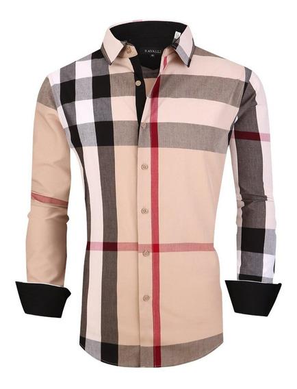 Camisa Para Caballero Beige Marca Ricceli Rs-1901 Original-1