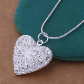 Colar Feminino Prata 925 Coração Relicário Foto Presente 529