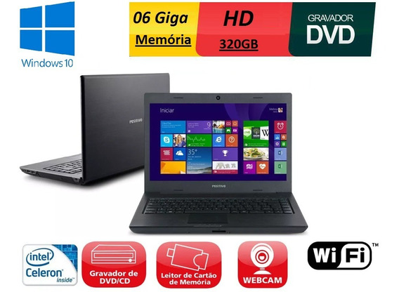 Notebook Positivo Intel 6gb 320gb Dvd Vga Wifi Led 14