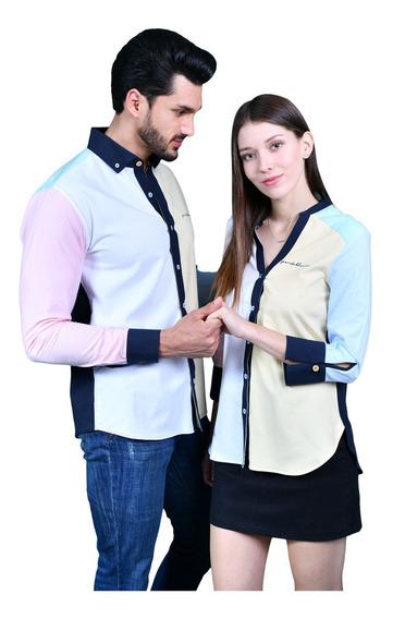 Camisas Dama Y Caballero Parejas Azul Porto Blanco De-956