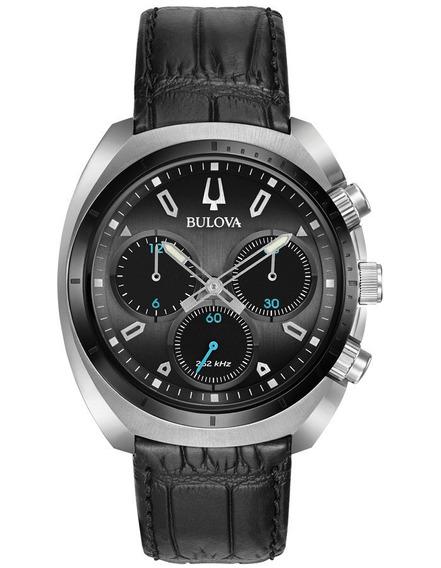 Relógio Bulova Curv Black 98a155 Original Cronografo Couro